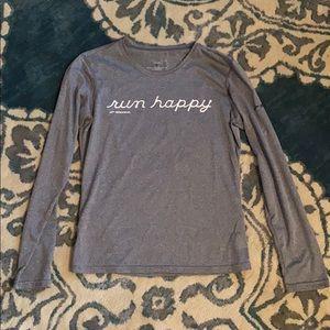 Brooks long sleeve grey shirt RUN HAPPY